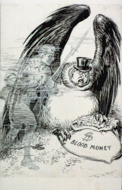 Kan grådigheten temmes? Allerede for 100 år siden gjorde politikerne et forsøk. ifølge den amerikanske tegneren W.A. Rogers. Tegning. W.A. Rogers/Creative Commons