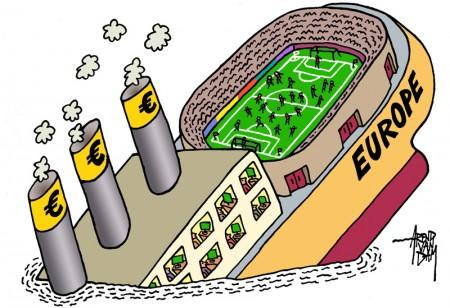 Euro-fotball-krise. Er euro 2012 viktigere enn å ha en euro i 2013? Den nederlandske tegneren Arend van Dam sammenligner Euro-2012-interessen med Titanics undergang. Tegning: Arend van Dam.
