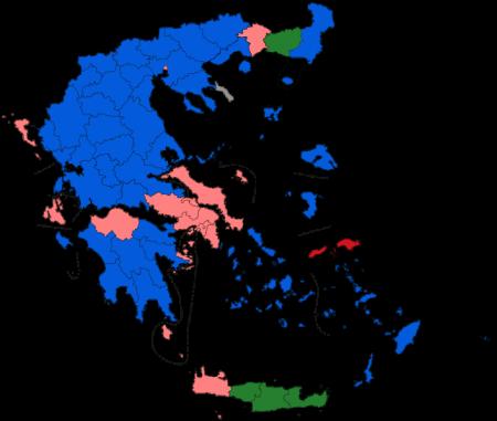 Valget i Hellas. Slik så situasjonen ut etter første valgrunde i mai. Det konservative Nytt demokrati var valgets seierherre, men likevel ute av stand til å finne koalisjonspartnere. Den populistiske venstrpartiet Syriza dominerer i storbyene Athen og Thessaloniki. Grafikk;Valget i Hellas. Slik så situasjonen ut etter første valgrunde i mai. Det konservative Nytt demokrati (blått) var valgets seierherre, men likevel ute av stand til å finne koalisjonspartnere. Den populistiske venstrpartiet Syriza (rødt) dominerer i storbyene Athen og Thessaloniki. Grafikk;