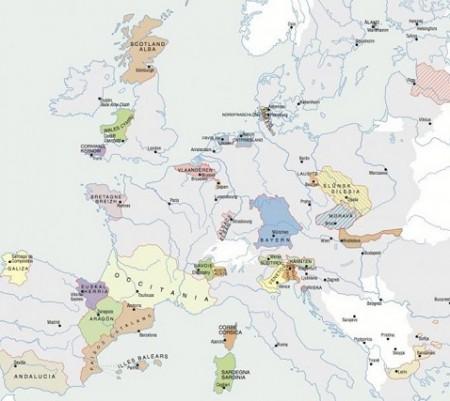 En oversikt over større og mindre separatistbevegelser i Europa. Grafikk: European Free Alliance.
