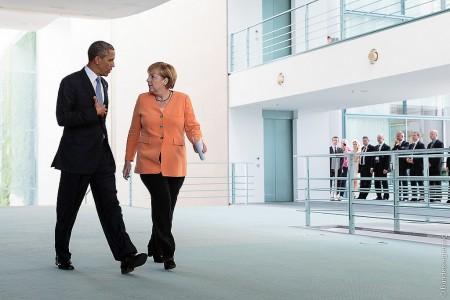 President Barack Obama ringer gjerne kansler Angela Merkel når han vil vite noe om EU... Foto: Bundesregierung.