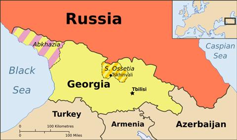 Georgia med utbryterrepublikker (kart: Wikimedia Commons, CC: by-sa)