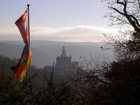 Slottet Marksburg ved Rhinen (foto: rs-foto, CC-lisens: by)