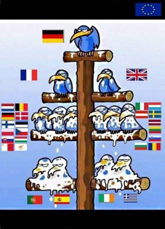 Hakkeorden er klar i EU-treet, mener denne tsjekkiske karikaturtegneren.